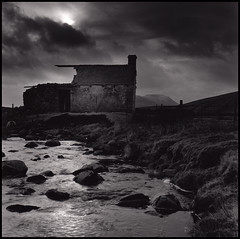 End of Days (Daren Smith) Tags: sky blackandwhite 120 film look darkroom river out print square moody yorkshire bronica blisters ilford fp4 trot dales sqa ingleborough 123bw multigrade autaut 80mmps verywetfeet hadtowait12hourforthelight hopeyouhadyourwellieson thenthedamnsheeptriedtoescapethroughthegate ididnotdavewetsoxallday
