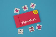A FAVE MOO sticker book (Leo Reynolds) Tags: canon eos iso100 sticker moo f56 70mm stickerbook minicard instantfave 40d hpexif 0017sec leol30random flickrintherealworld sillypinkstar xratio32x xleol30x
