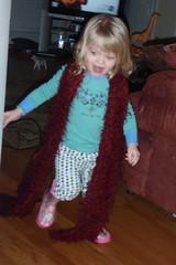running around in my scarf & her rain boots