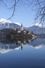 Bled and Julian Alps in the background, Slovenia (mirci) Tags: lake alps castle europe eu slovenia bled 2009 julianalps bledcastle bledlake pletna mirci mirjanapapez
