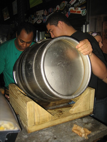 Emptying the firkin
