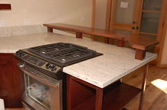 Raised countertop in stained bamboo