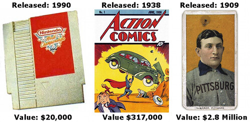 Value of Rare Video Game, Action Comic, and Baseball Card