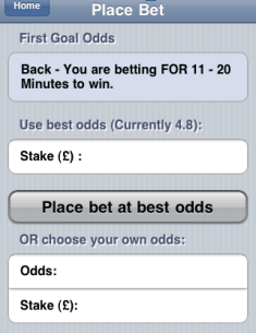 Betfair place bet screen