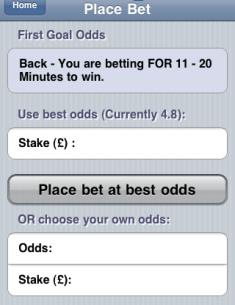 Betfair place bet screen