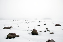 Winter on Mars (Sameli) Tags: winter sea white snow ice nature rock fog espoo suomi finland landscape rocks shore