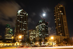 Moon over Downtown San Diego (San Diego Shooter) Tags: sandiego sandiegoskyline downtownsandiego challengeyouwinner downtownsandiegoatnight sandiegocityscape moonoverdowntown thepinnaclehof tphofweek43