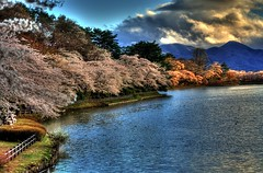 Spring in Japan (jasohill) Tags: park sunset lake mountains japan clouds landscape photography japanese spring takamatsu iwate backgrounds   sakura   2009 morioka hdr hanami touhoku     3xp canonef50mmf18ii jasohill cooliris superaplus aplusphoto platinumheartaward  fotocompetition fotocompetitionbronze mygearandme