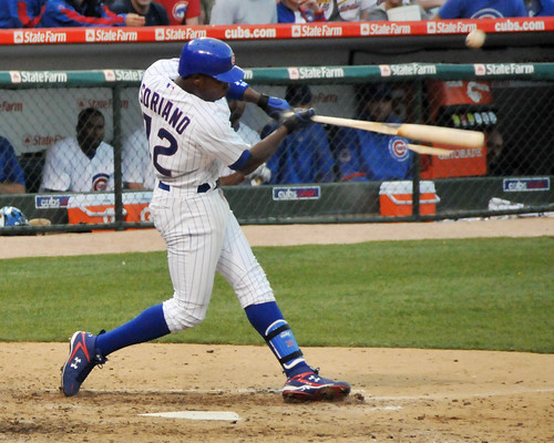 Alfonso Soriano breaks a bat