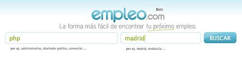 Captura de empleo.com para buscar PHP en Madrid