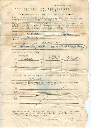 WW1 Certificate Of Employment - Army Form Z.18- Part I