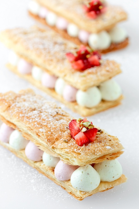 Pistachio Strawberry Mille Feuilles