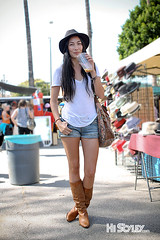 HiStyley l Melrose Trading Post  Street Style  #202 (HiStyley) Tags: california ca street city portrait people girl hat fashion vintage bag la losangeles women boots style tshirt 09 hollywood shorts brunette 2009 streetfashion streetstyle jeansshorts melrosetradingpost histyley
