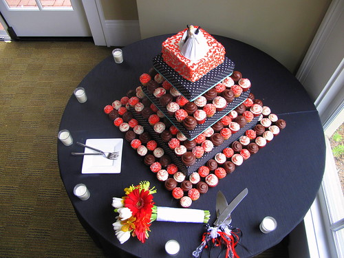 Aerial View of Wedding Cupcake Tower This stunning wedding creation was