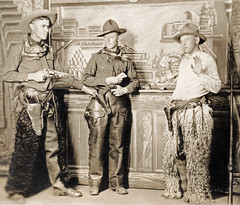 Three Studio Cowboys (newmexico51) Tags: old man men hat leather bar vintage studio cards found cowboy gun boots rifle novelty photograph bandana cowboyhat chaps holster holdup pelt