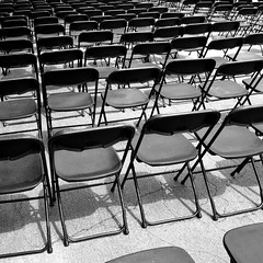 Chairs (tim.perdue) Tags: bw white black festival chairs empty plastic rows folding creekside gahanna flickrchallengegroup flickrchallengewinner friendlychallenges thechallengefactory