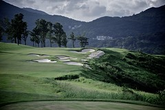 Clearwater Bay Golf Club - Bunkers (Tomorrow Bystander) Tags: sky green grass clouds golf hongkong dusk path course casio bunker fairway cart exilim clearwaterbay saikung exfc100
