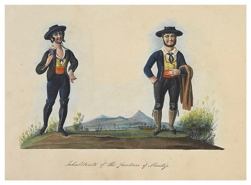 008- Habitantes del puesto fronterizo de Alentejo-Picturesque review of the costume of the portuguese 1836