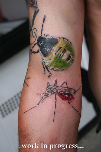 English insect & spiders sleeve tattoo by Mirek vel Stotker