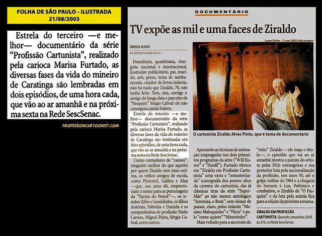 """""""TV expõe as mil e uma faces de Ziraldo"""" - Folha de São Paulo - 21/08/2003"""