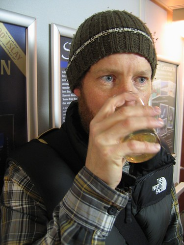 Ade swigs Kilchoman on the ferry