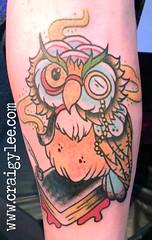 old school owl tattoo (craigy lee) Tags: old school color colour london tattoo book arm traditional cartoon feathers tattoos smoking lee owl craigy