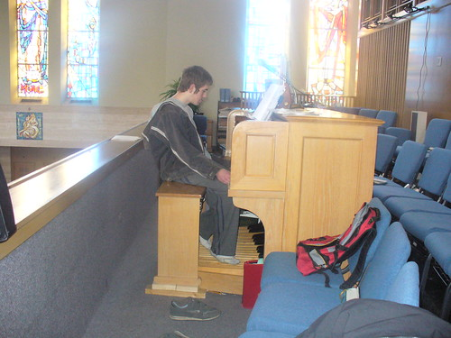Sam practicing the pipe organ