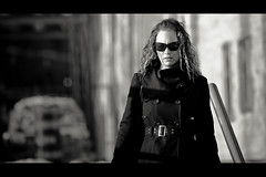 Belt, Buttons and Zippers (Dom Cruz) Tags: street winter portrait people blackandwhite bw woman ontario canada reflection girl sunglasses canon belt downtown noir shadows dof bokeh buttons candid guelph streetphotography style sunny cinematic zippers lateafternoon f20 135l canonef135mmf2lusm 40d canoneos40d