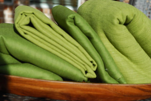 Green 100% linen fabrics by you.