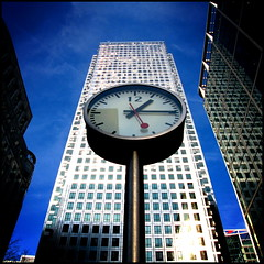 Time  ::  Money (fotografika phantastika) Tags: tower clock glass skyscraper canon time steel powershot publicart canarywharf konstantin onecanadasquare grcic a540 nashcourt