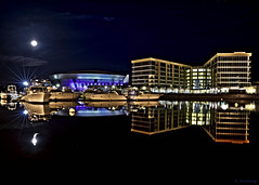 Asleep (Michael Brooking Photography) Tags: blue moon reflection water night buildings dark stars boats lights hotel waterfront purple sleep ufo fullmoon arena yachts flyingsaucer 1001nights hdr stocktoncalifornia sheriton mywinners weberpoint michaelbrookingphotography