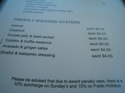 Oyster Menu @ The Mussel Bar, Fremantle