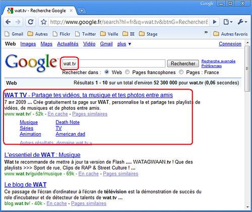 Wat.tv sur Google