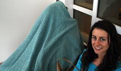 Tara (under the blanket) & Irena (BlazinBajan) Tags: blue girls friends woman green girl smile hospital outside women tara blanket emory hiding irena