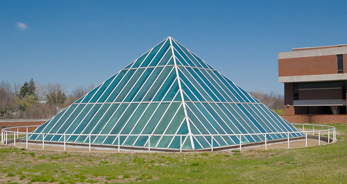 Glass pyramid over the Mercantile Library, at the University of Missouri - Saint Louis, in Normandy, Missouri, USA