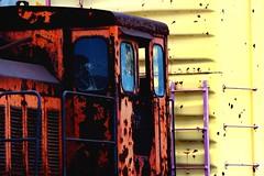 What Color Is Your Train? (rickhanger) Tags: railroad orange yellow train rust engine lavender boxcar fabulous soe railcars defunct blueribbonwinner abigfave colourartaward rickhanger rickhangerphotography