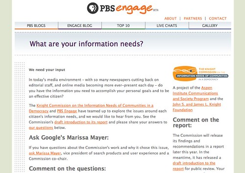 PBS Engage | What are your information needs