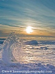 KAScott_20080216_8002b (Ken Scott) Tags: winter sunset usa ice michigan wave lakemichigan splash leelanau kenscottphotography kenscottphotographycom