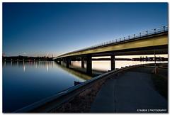 Canberra Lake Sunset II (Sam Ilić) Tags: bridge blue light sunset summer sky lake color silhouette architecture night canon blues australia canberra griffin dri hdr act burley photomatix explored 450d canon1022mm3545