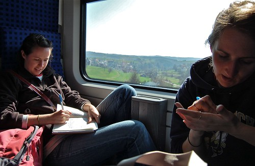 Writing on a train