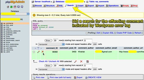 Search for mySQL error in phpMyAdmin