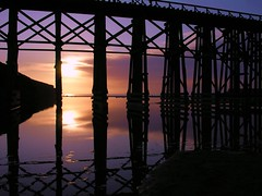 Fort Bragg Tressel at Sunset (Ru Tover) Tags: ocean california sunset red beach water yellow train reflections purple shoreline lavender sunsets reflect res reflexions seashore fortbragg damncool tressel greatphotographers silhouettephotography saariysqualitypictures