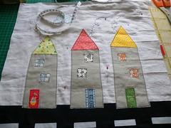 WIP-three houses (monaw2008) Tags: house handmade linen pillow applique cushion monaw monaw2008