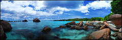 Anse Lazio (smokejumping) Tags: ocean blue sea autostitch panorama holiday beach nikon heaven paradise indian seychelles 2009 praslin d80 sergiocanobbio
