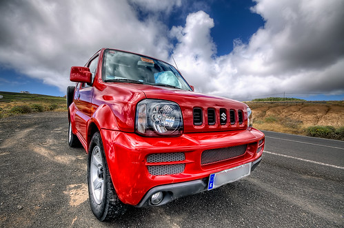Small, in red. Suzuki Jimny HDR Lanzarote
