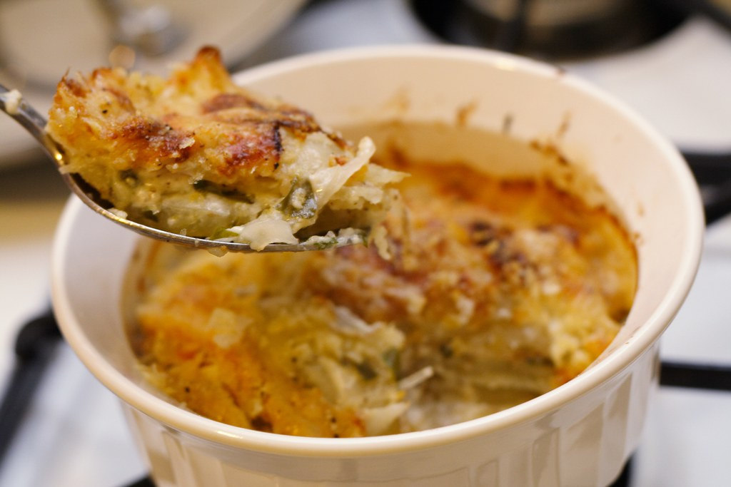 potato gratin with lovage