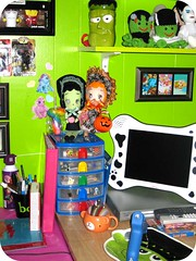 View into my sewing room (SnitchesGetStitches) Tags: color art corner tv dolls frankenstein hannspree aceos happywhosits boopsiedaisy frankenpi brideoffrankenpi