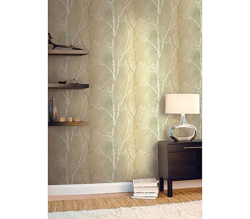 Modern wallpaper: Silver green trees wallpaper from Blonder Home