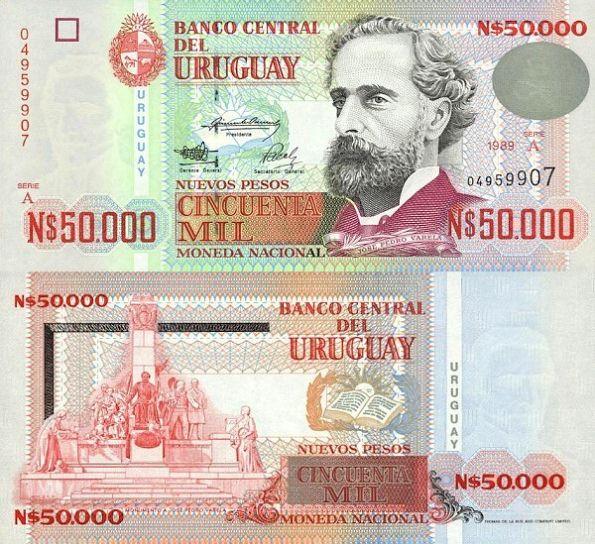50 000 Nuevos Pesos Uruguaj 1989-91