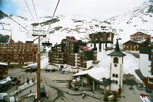 Taking the chairlift over Val Thorens town centre